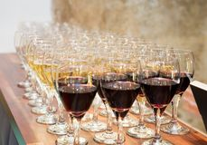 Wijn en Champagne Glasses stock foto