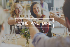 Wijn en Dine Dinner Drinking Enjoyment Food-Concept Stock Foto's