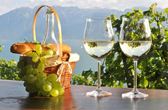 Wijn en druiven tegen Royalty-vrije Stock Fotografie