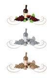 Wijn en druivendecoratie Stock Afbeeldingen