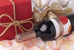 Wijn en gift Royalty-vrije Stock Foto