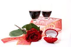 Wijn en gouden ring Royalty-vrije Stock Foto