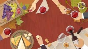Wijn en kaas het proeven vector illustratie