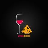 Wijn en kaasontwerpachtergrond Stock Foto's