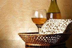 Wijn en matzoh Royalty-vrije Stock Foto