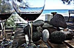 Wijn en overzees stock afbeeldingen