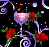 Wijn en rozen Royalty-vrije Stock Foto's