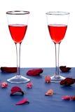 Wijn en rozen stock afbeelding