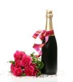 Wijn en rozen Stock Afbeeldingen