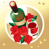 Wijn en rozen Stock Foto