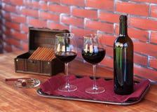 Wijn en sigaren Royalty-vrije Stock Foto