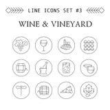 Wijn en van de wijngaardlijn pictogrammen Stock Fotografie