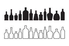 Wijn en whiskyflessenpictogram op wit wordt geïsoleerd dat vector illustratie