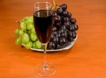 Wijn en wijnstok op een lijst Royalty-vrije Stock Fotografie