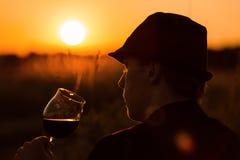 Wijn en zonsondergang 3 Royalty-vrije Stock Afbeeldingen