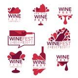 Wijn fest, rode wijnflessen en glazen vector illustratie