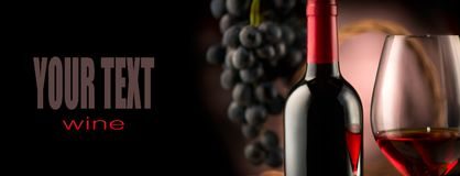 Wijn Fles en glas rode wijn met rijpe druiven royalty-vrije stock foto's