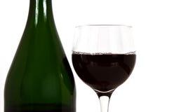 wijn glas en fles Stock Afbeelding