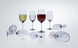 Wijn in glazen Stock Afbeeldingen