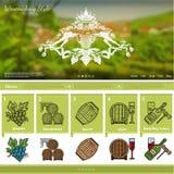 Wijn het maken het malplaatje van de websitepagina op druivengebied vage achtergrond Stock Fotografie