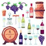 Wijn het maken vectorpictogrammen en ontwerpelementen Rode en witte wijnflessen, het drinken glas, de illustratie van wijnstokdru stock illustratie
