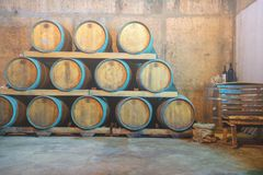 Wijn het proeven en Wijnmakerijreis Kroatië van Hvar De kelder van de wijn met vaten stock afbeelding