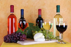 Wijn, kaas en druiven Royalty-vrije Stock Foto