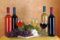 Wijn, kaas en druiven Royalty-vrije Stock Afbeelding