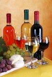 Wijn, kaas en druiven Royalty-vrije Stock Fotografie