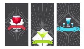 Wijn, martini, en het ontwerp van de de drankpartij van tequilaglazen vector illustratie