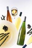 Wijn met asperge Royalty-vrije Stock Afbeeldingen
