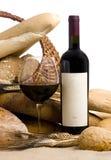 Wijn met brood leeg etiket stock afbeelding