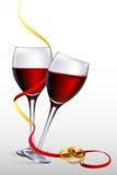 Wijn met verlovingsringen stock illustratie