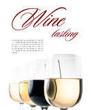 Wijn-proeft, een paar glazen rode en witte wijn royalty-vrije stock afbeelding