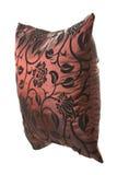 Wijn-rood zijdehoofdkussen met zwarte ornamenten Royalty-vrije Stock Afbeelding