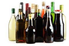 Wijn, sap, whisky, brandewijn, jenever, wodka. royalty-vrije stock afbeelding