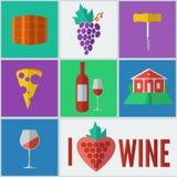 Wijn in Vlakke Ontwerpstijl Stock Afbeelding