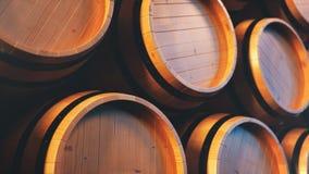 Wijn, whisky, rum, bier, vaten backgorund Alcoholische drank in houten vaten zoals wijn, cognac, rum, 3D brandewijn, stock afbeeldingen