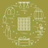 Wijnbereiding: de productie en de opslag van wijn Cultuur van drank Stock Foto