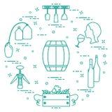 Wijnbereiding: de productie en de opslag van wijn Cultuur van drank Royalty-vrije Stock Afbeelding