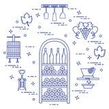 Wijnbereiding: de productie en de opslag van wijn Cultuur van drank Royalty-vrije Stock Fotografie