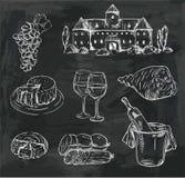 Wijnbereiding reeks vectorschetsen op zwarte Stock Foto's