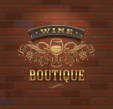 Wijnboutique - uitstekend uithangbord Royalty-vrije Stock Afbeelding