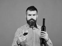 Wijnbouw en de herfstconcept De mens met baard houdt glas rode wijn royalty-vrije stock afbeelding