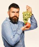 Wijnbouw en het tuinieren concept De landbouwer toont zijn oogstwinegrower met ernstig gezicht stock foto