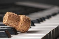 Wijncork op pianotoetsenbord Royalty-vrije Stock Afbeelding