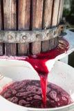 Wijndruiven die in mandpers worden verpletterd op Chiantigebied, Toscanië, Italië Stock Foto's