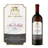 Wijnetiket met fles Front Label royalty-vrije stock fotografie