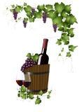 Wijnfles in een houten emmer royalty-vrije illustratie