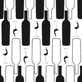 Wijnfles en glas naadloos patroon Royalty-vrije Stock Afbeeldingen